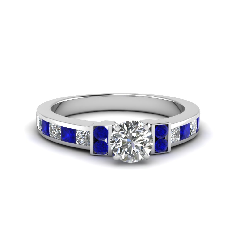 round cut channel bar set diamond engagement ring for women with blue sapphire in FDENR989RORGSABL NL WG