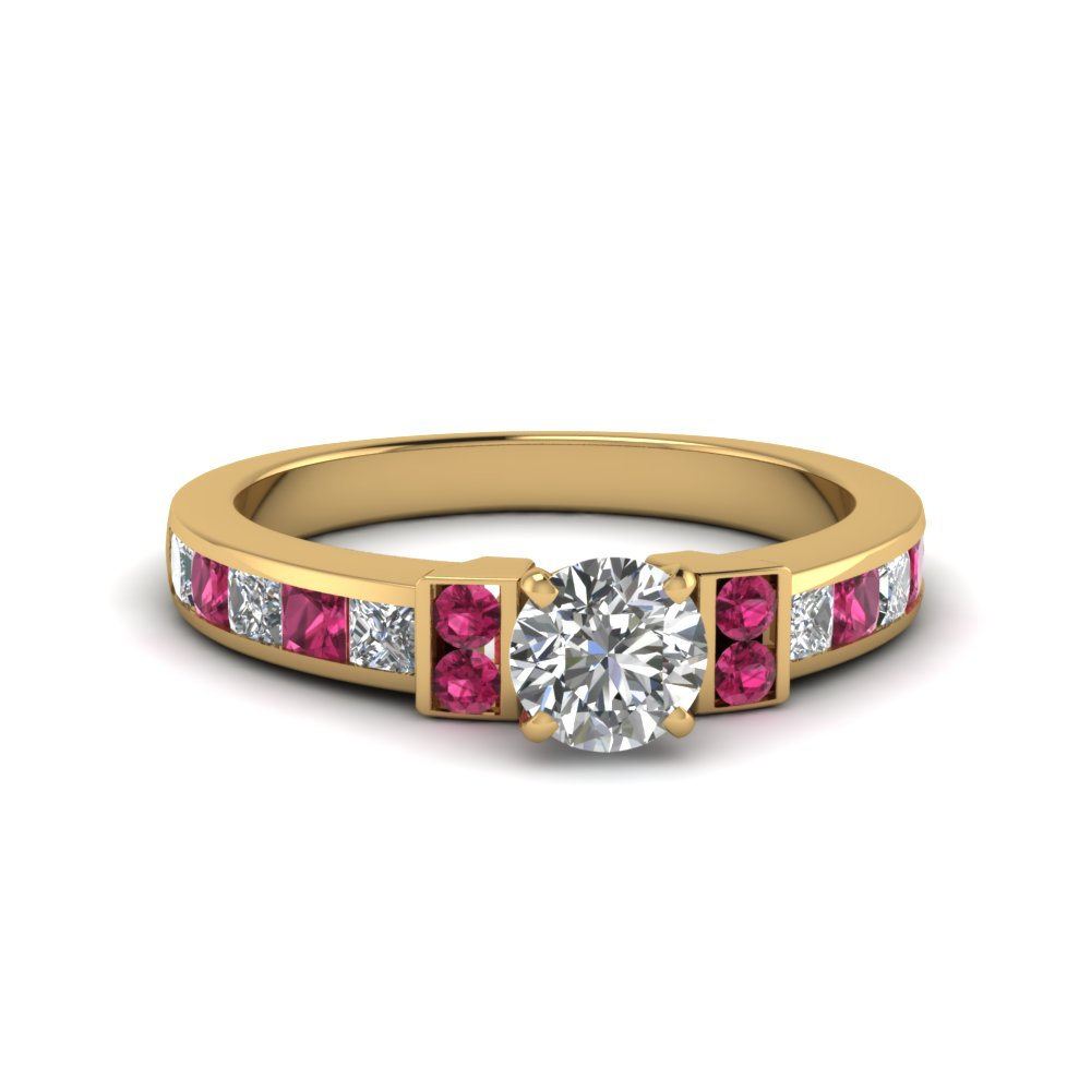 round cut channel bar set diamond engagement ring for women with pink sapphire in FDENR989RORGSADRPI NL YG