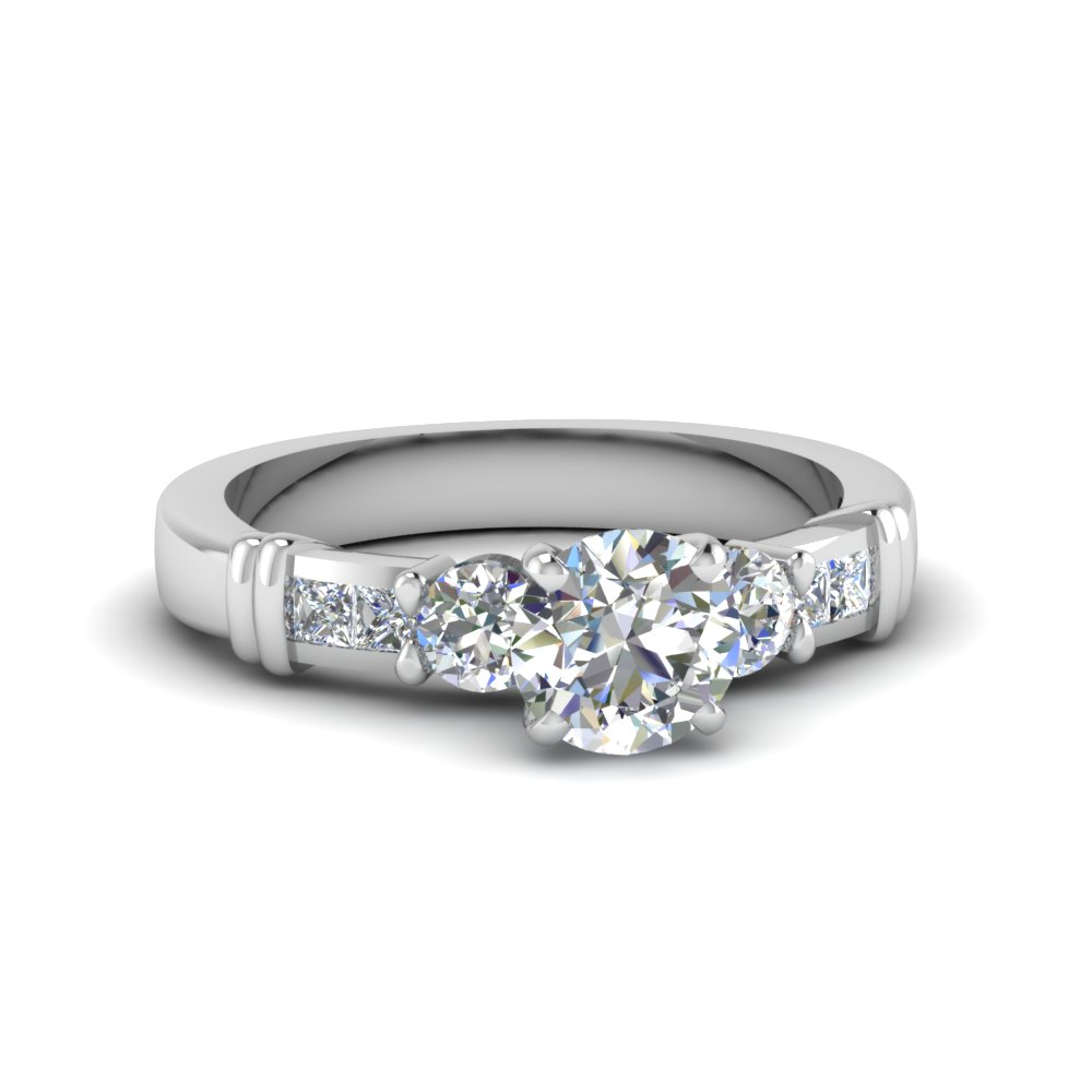 round cut channel bar set diamond engagement ring in 14K white gold FDENS286ROR NL WG