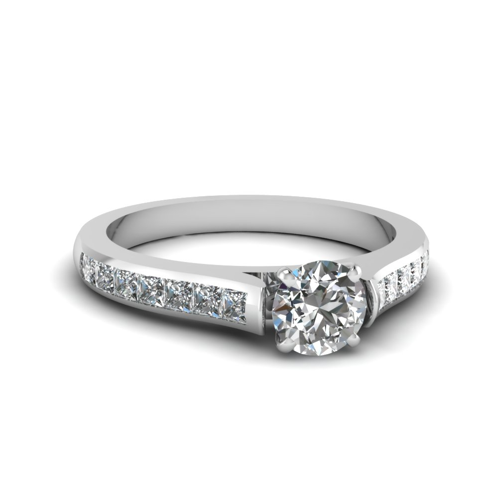 round cut cathedral channel set diamond engagement ring in FDENS877ROR NL WG 30