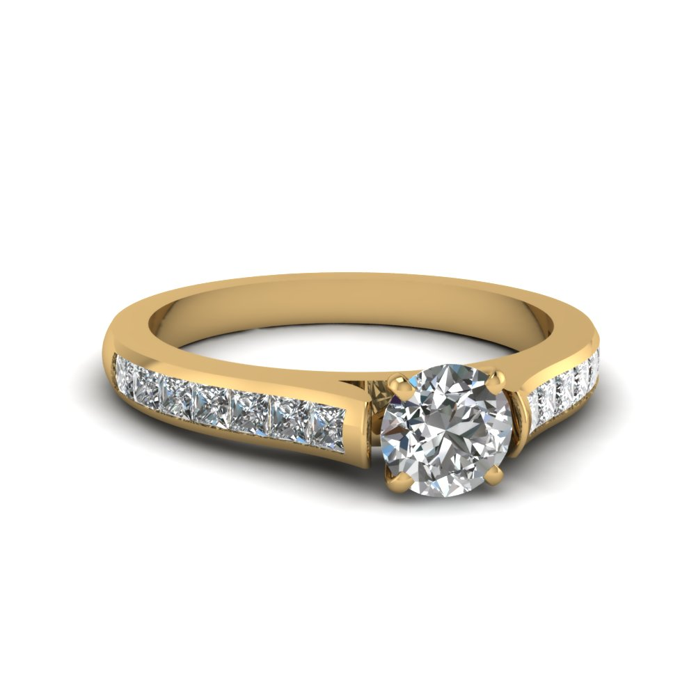 Round Cut Yellow Gold Engagement Ring with Princess Side Stones