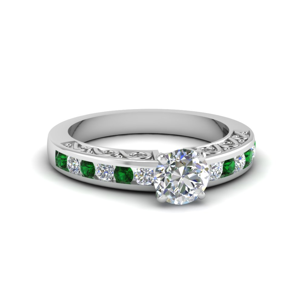 round cut channel set diamond vintage engagement ring with emerald in FDENS817RORGEMGR NL WG