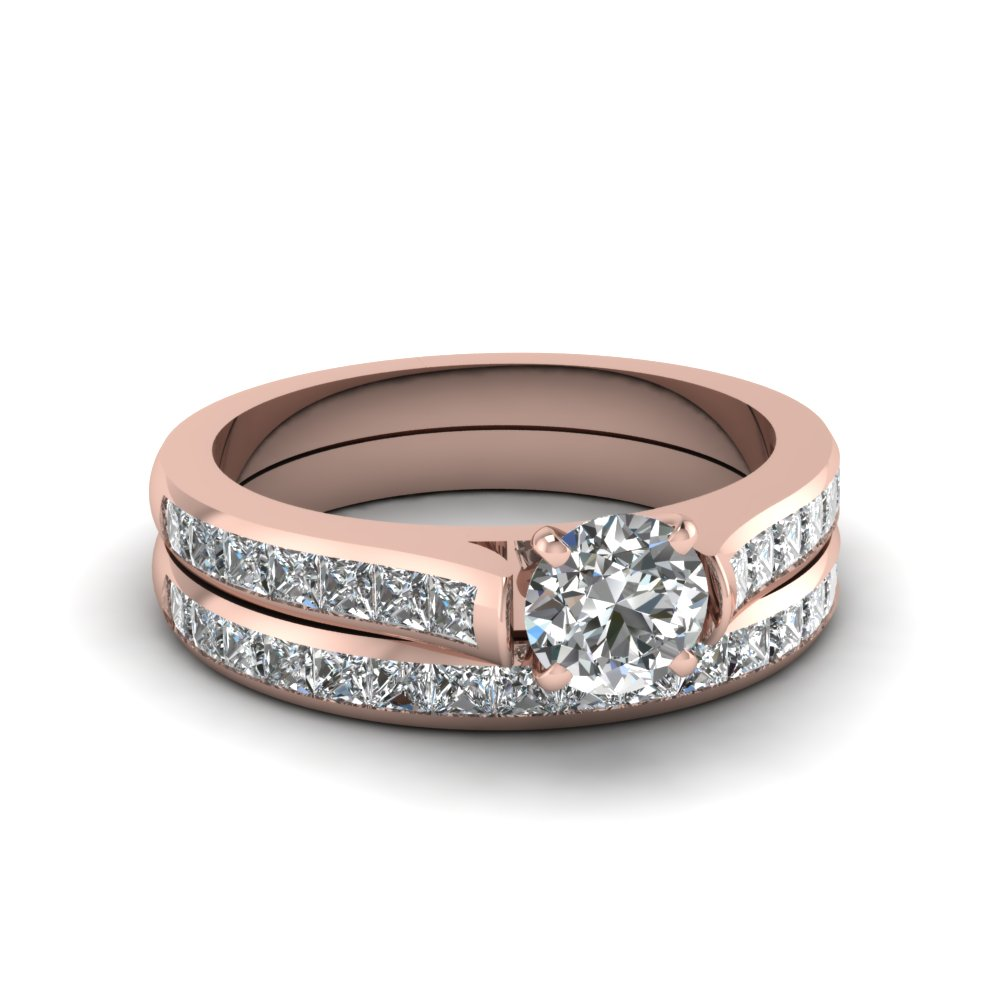 round cut channel set diamond wedding ring sets in 14K rose gold FDENS877RO NL RG 30