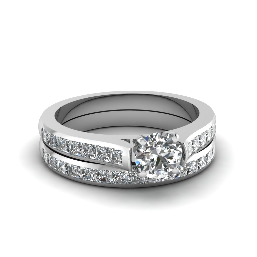 Round Cut Channel Set Diamond Wedding Ring Sets In 14K White Gold