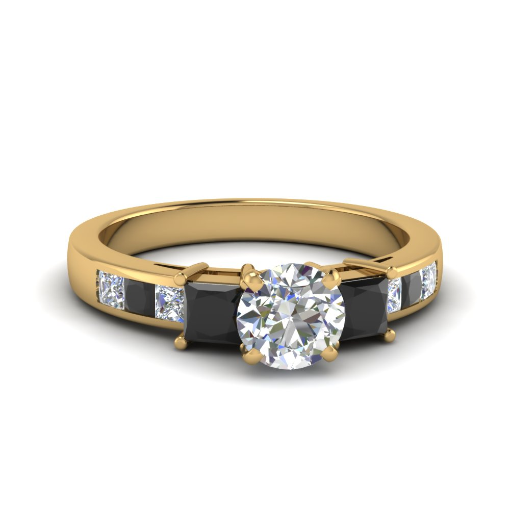 round cut channel three stone engagement ring with black diamond in 14K yellow gold FDENS205RORGBLACK NL YG