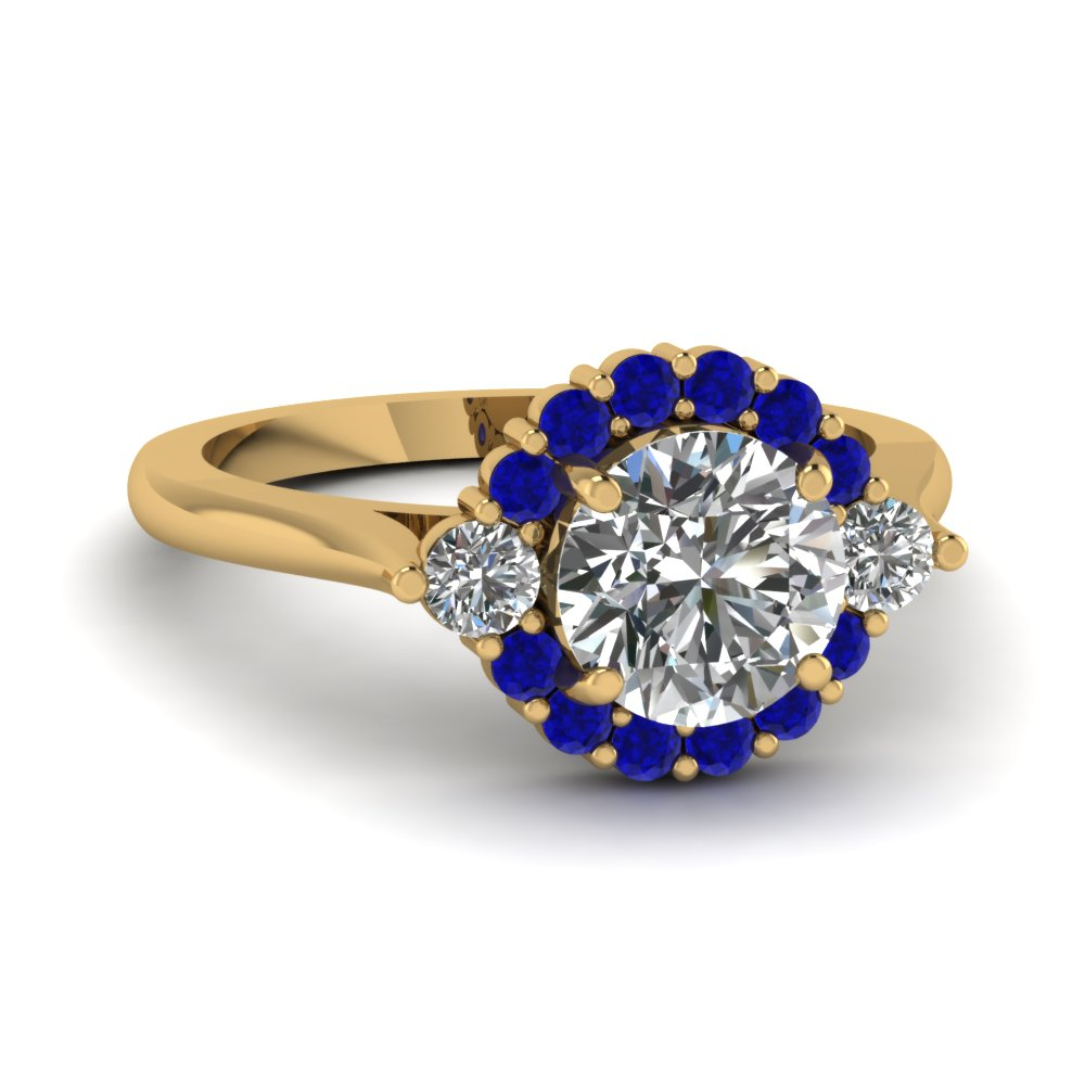 Round Sapphire Floating Prong Halo Ring