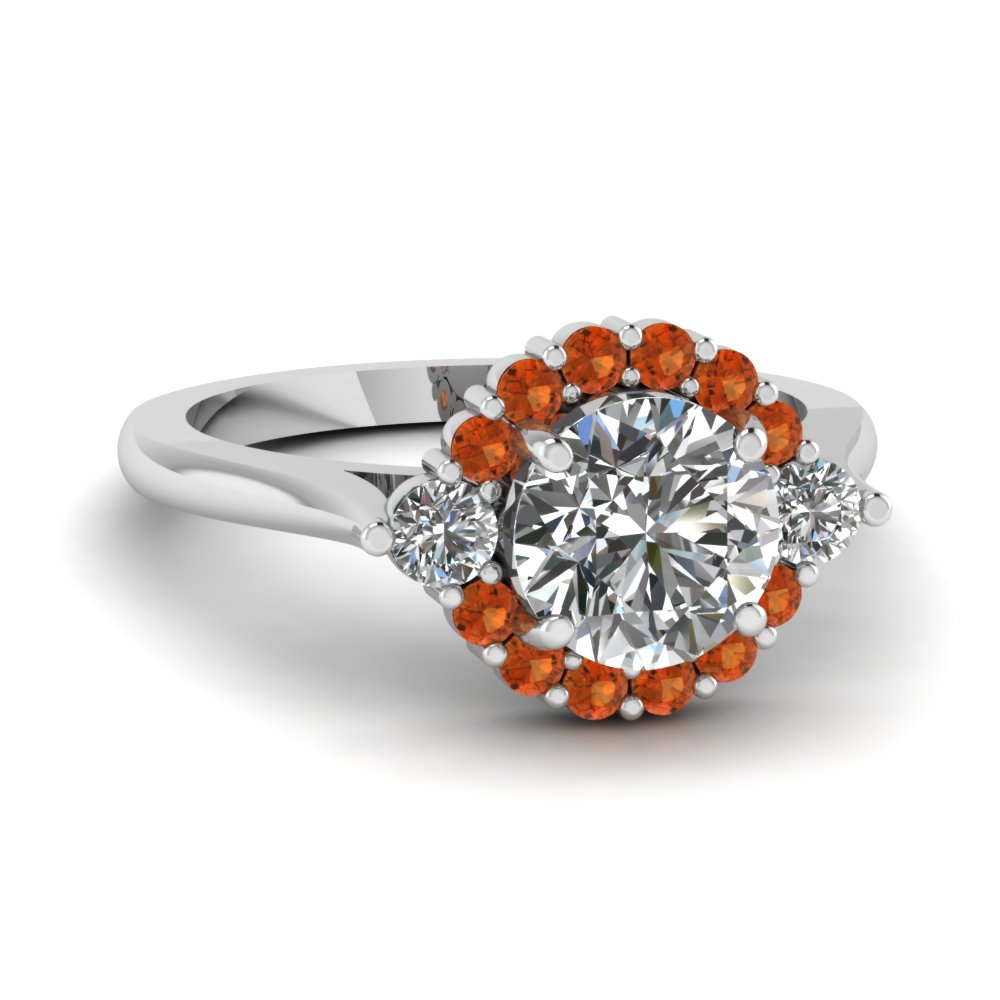 Flower Cathedral Orange Sapphire Ring