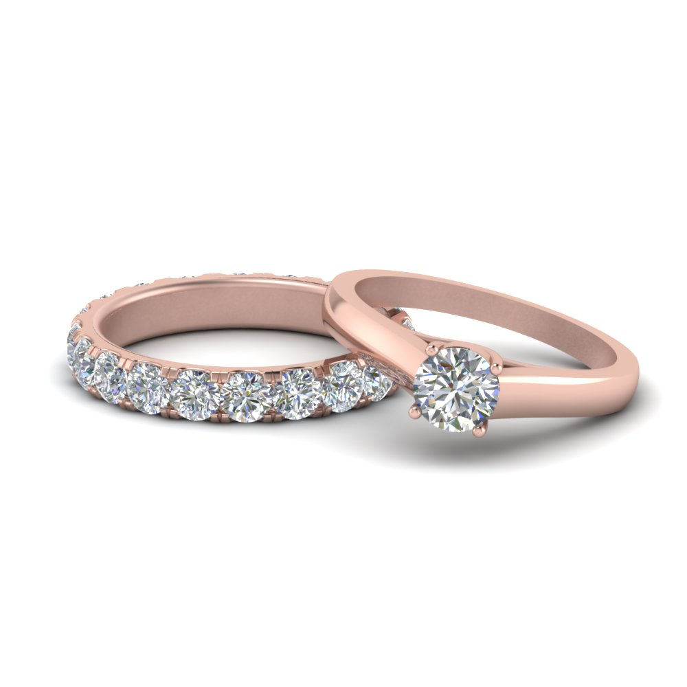 Solitaire Ring With Matching Band 18K Rose Gold