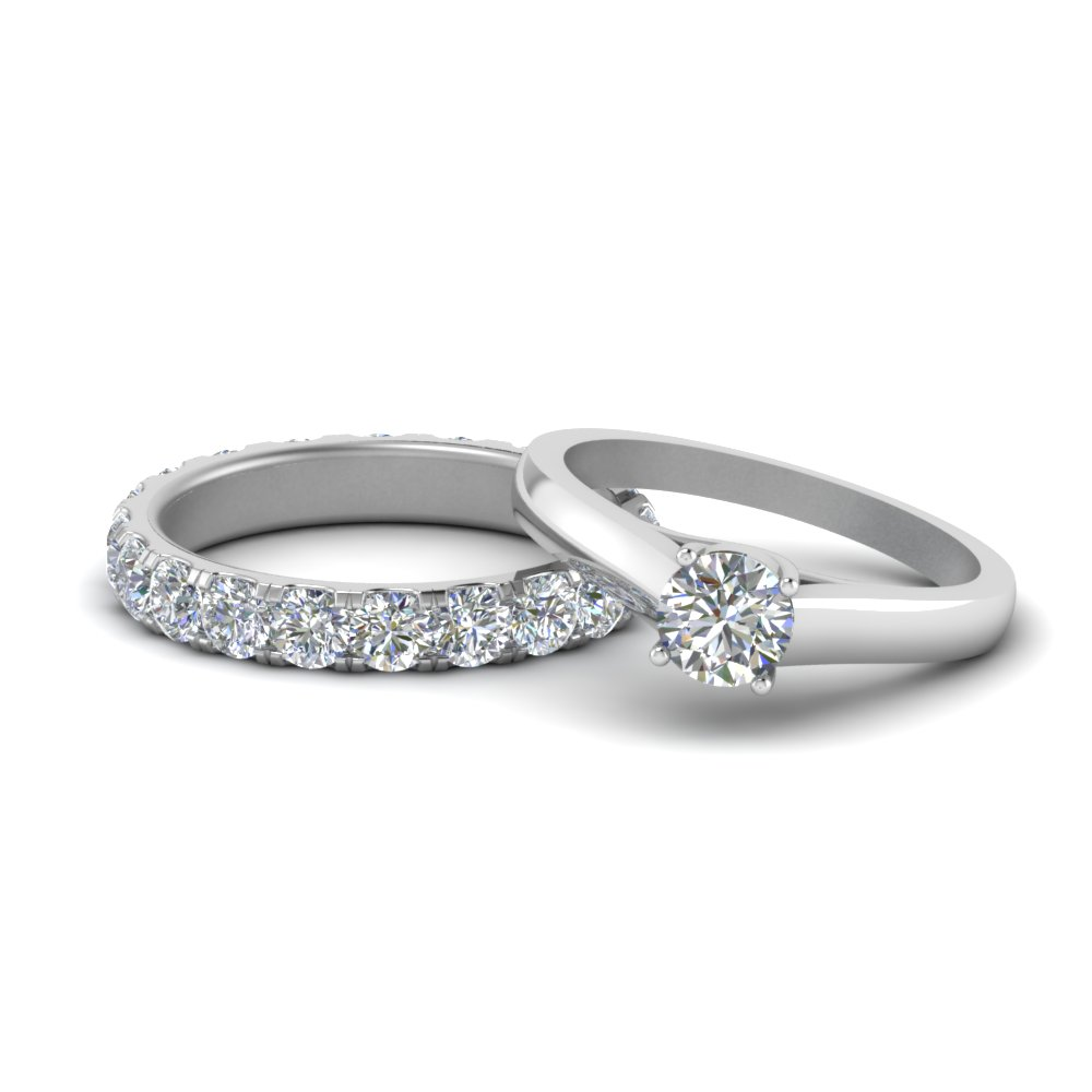 18K White Gold Round Diamond Ring Set