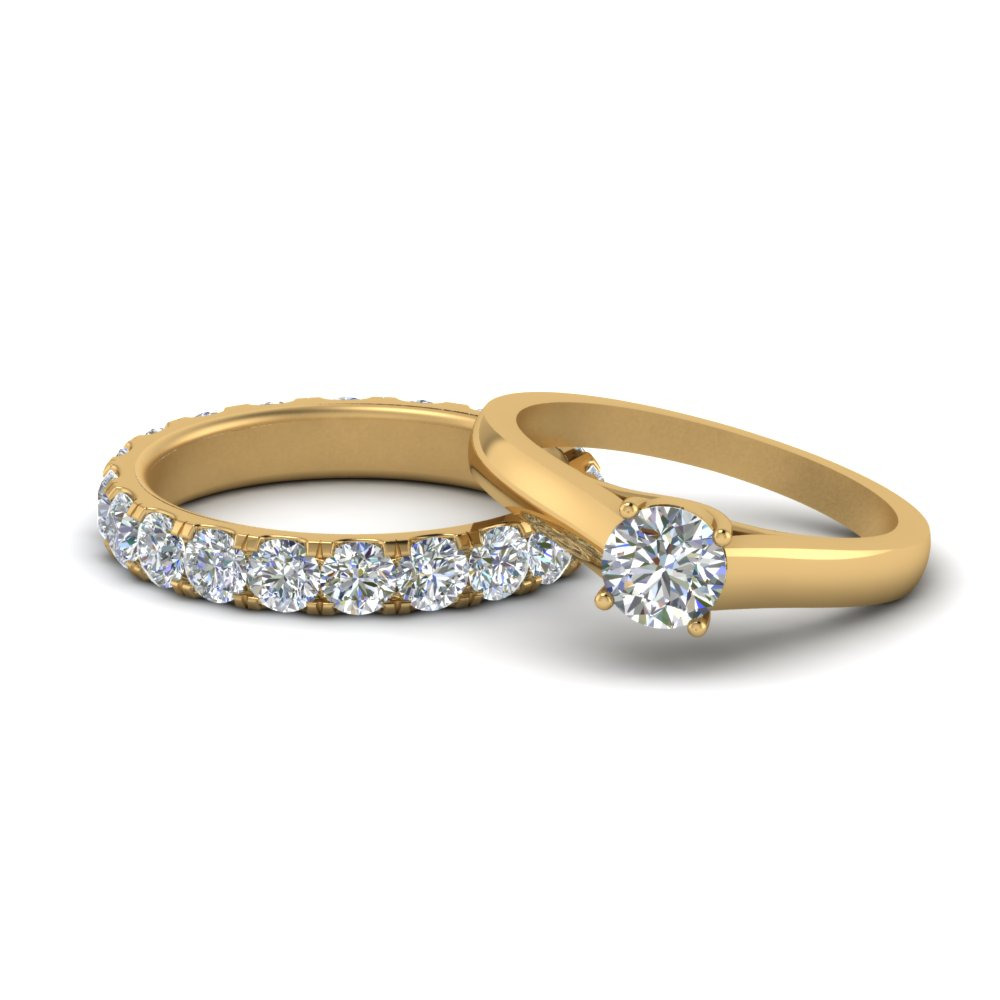 round cut classic diamond bridal ring set in 14K yellow gold FD9057RO NL YG