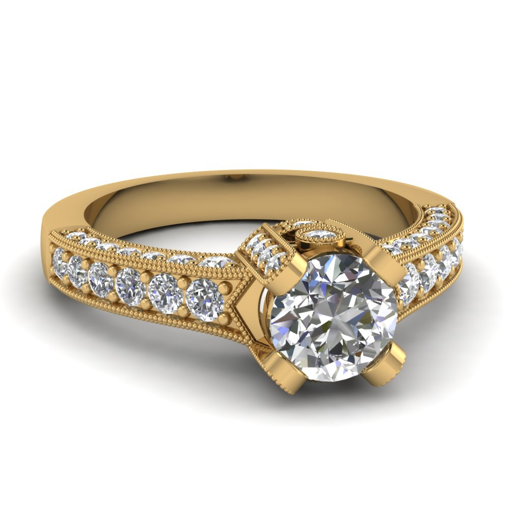 round cut crown diamond antique vintage engagement ring in 14K yellow gold FDENR821ROR NL YG