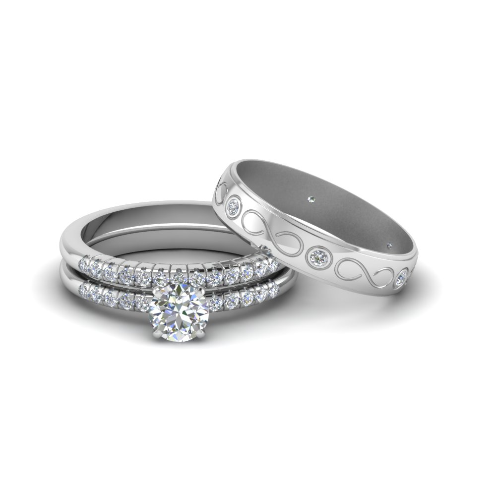 Round Cut Diamond Trio Matching Wedding Set For Him And Her In 14k White Gold Fd8227tro