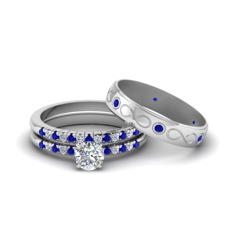 Round Cut Daimond Trio Matching Wedding Set For Him And Her With Blue Shire In Fd8227trogsabl