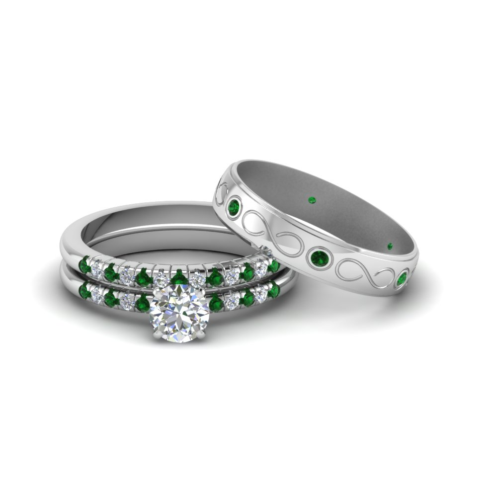 Round Cut Diamond Trio Matching Wedding Set For Him And Her With Emerald In 14k White