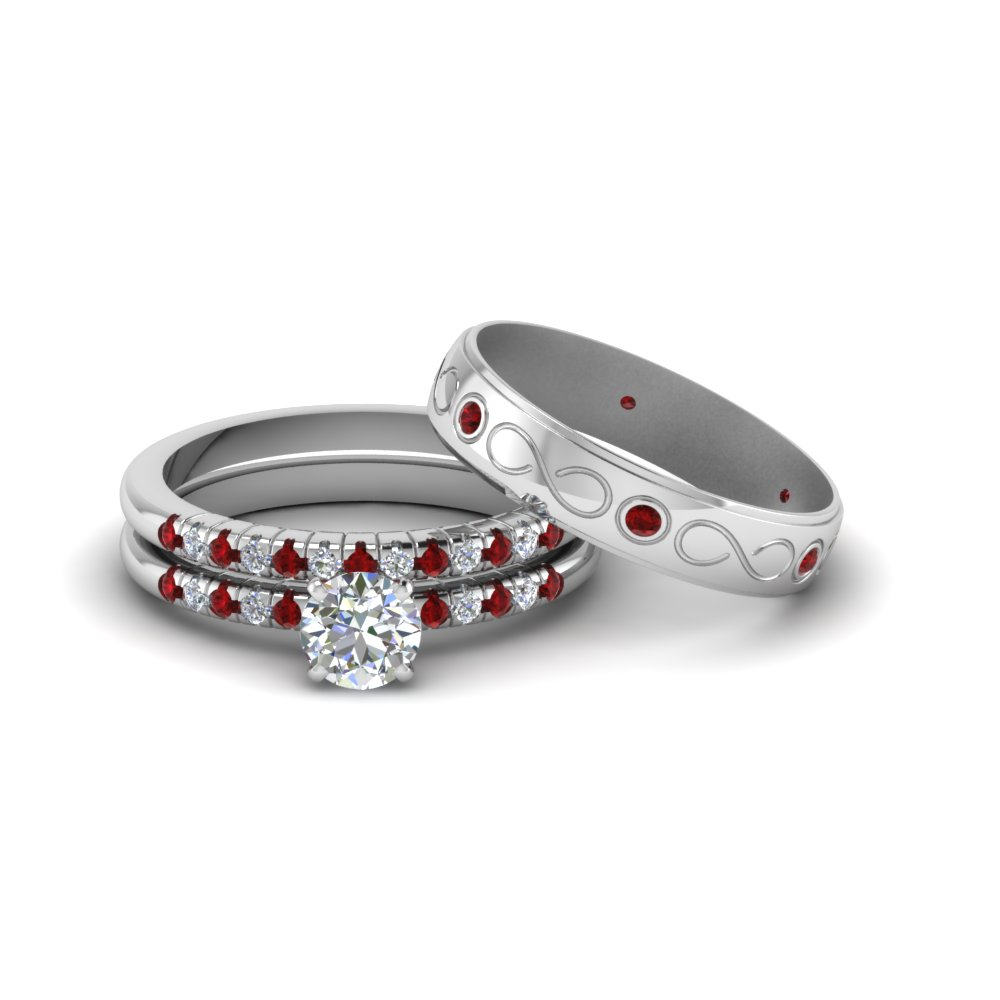 Round Cut Daimond Trio Matching Wedding Set For Him And Her With