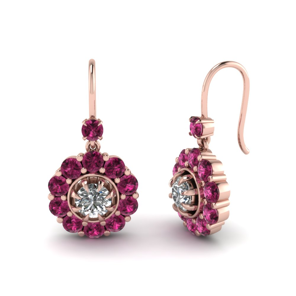 Image result for floral drop Pendulum Drop Earring pink sapphire