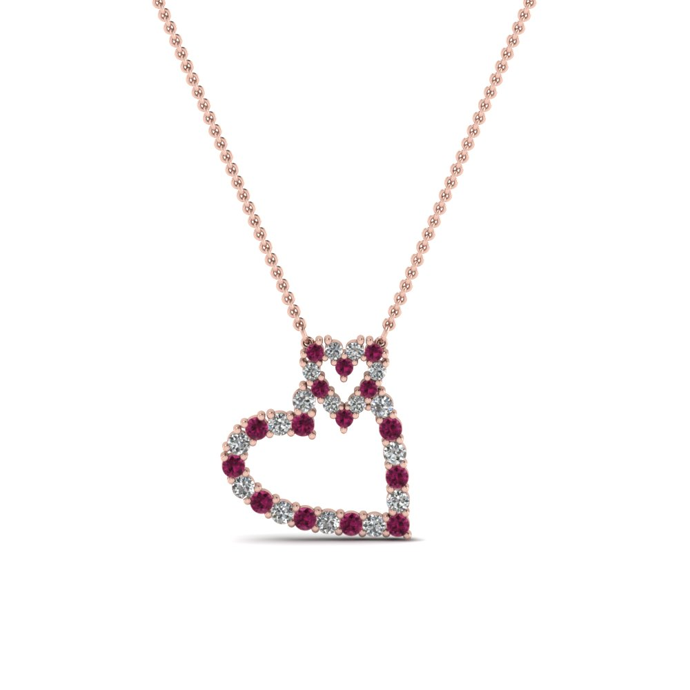 Customize Your Own Pink Sapphire Heart Pendant Necklaces |Fascinating Diamonds