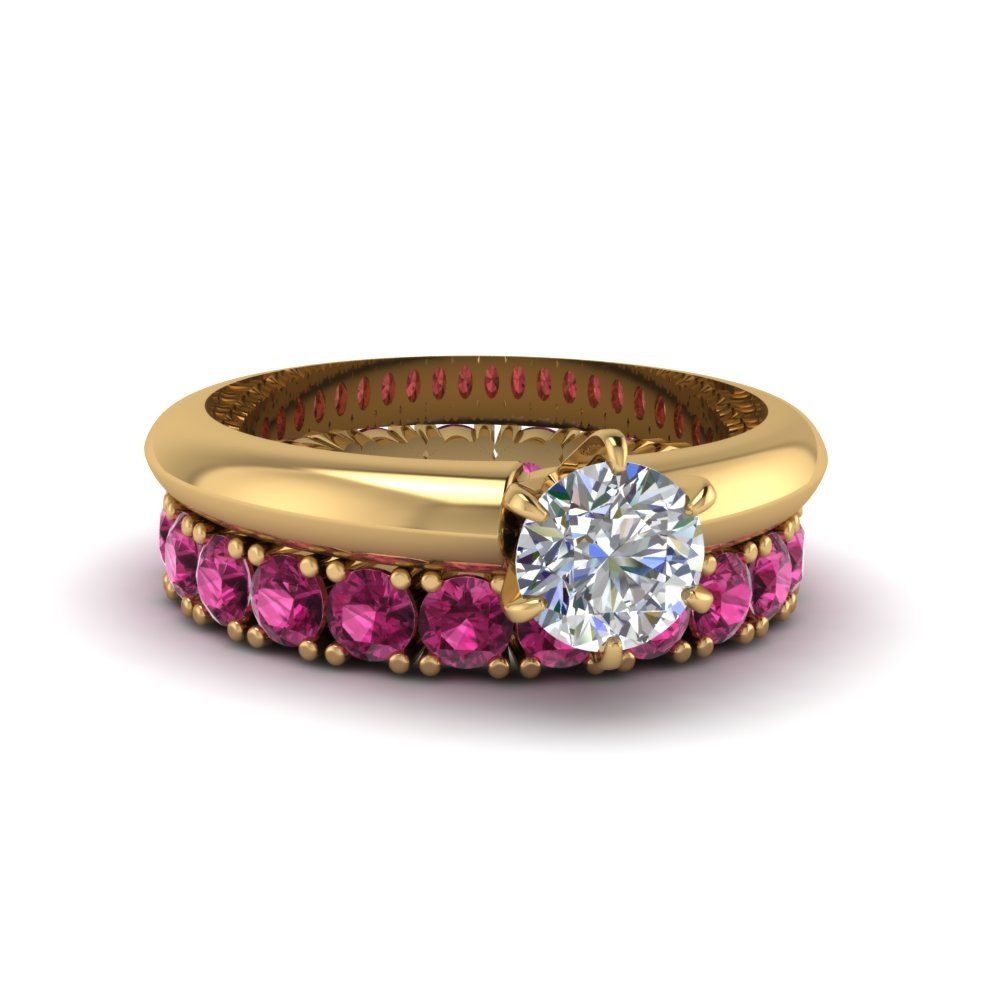Solitaire Engagement Ring With pink sapphire Eternity Band in 14K yellow gold FD8038ROGSADRPI NL YG