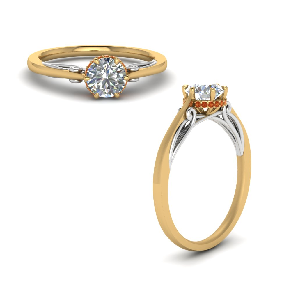 round cut delicate 2 tone engagement ring with orange sapphire in FD123488RORGSAORANGLE1 NL YG