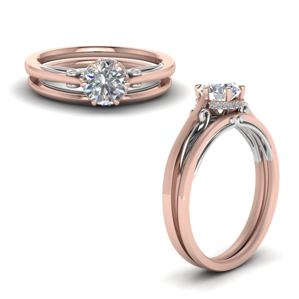 round cut delicate 2 tone diamond wedding set in FD123488ROANGLE1 NL RG