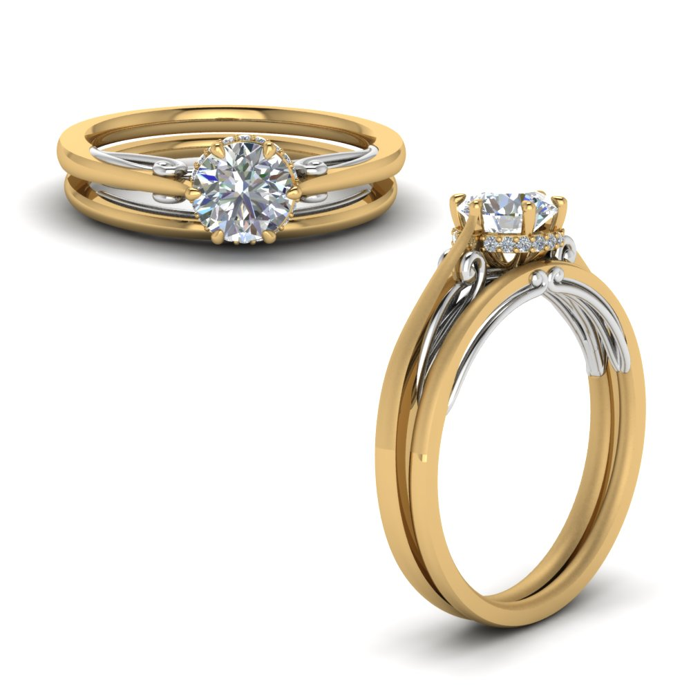 round cut delicate 2 tone diamond wedding set in FD123488ROANGLE1 NL YG