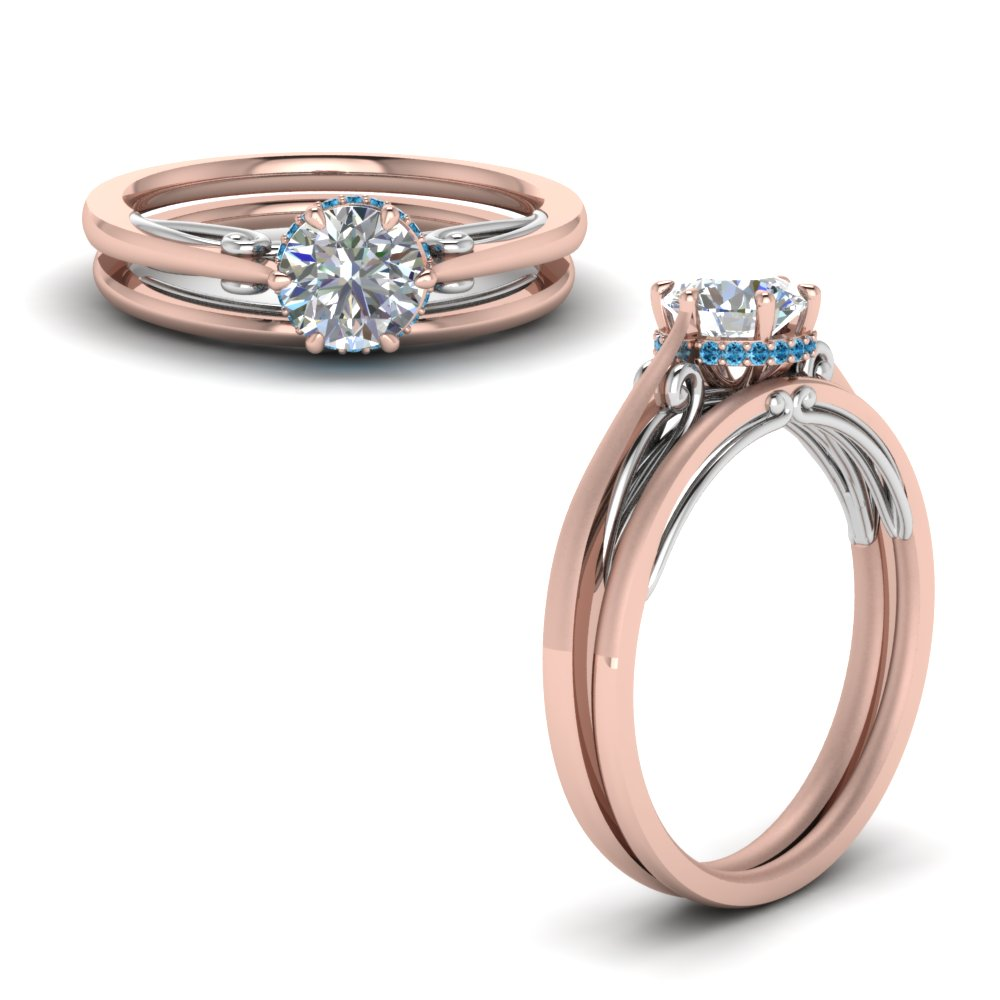 round cut delicate 2 tone wedding set with blue topaz in FD123488ROGICBLTOANGLE1 NL RG