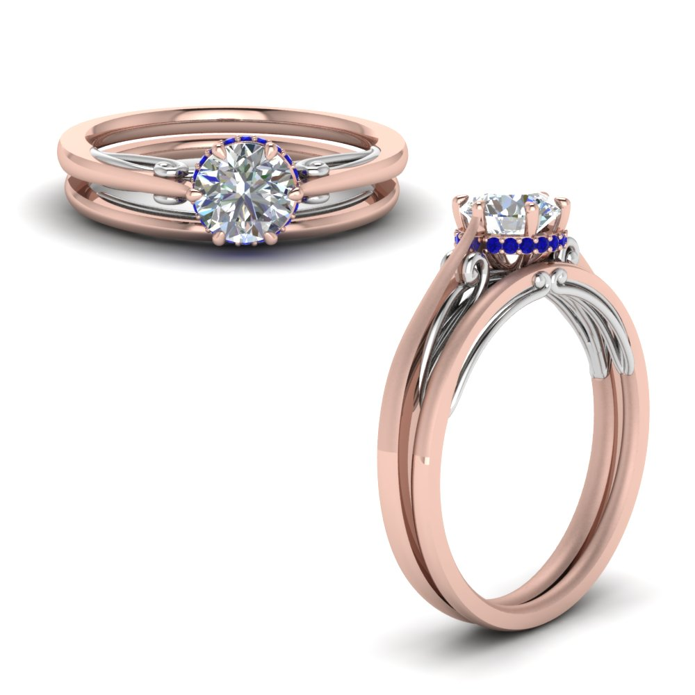round cut delicate 2 tone wedding set with sapphire in FD123488ROGSABLANGLE1 NL RG