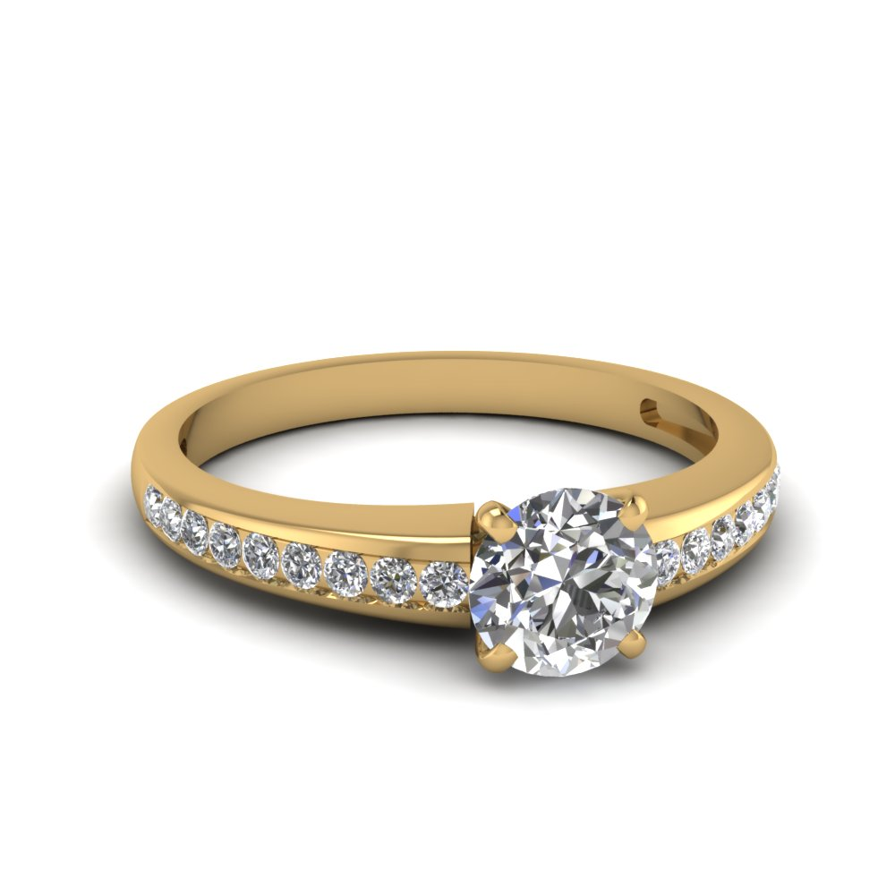 round cut delicate channel diamond engagement ring in FDENS3018ROR NL YG