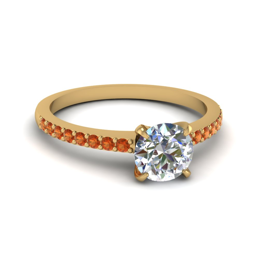 round cut delicate diamond engagement ring with orange sapphire in FD1026RORGSAOR NL YG GS