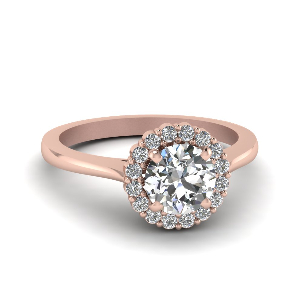Round Cut Delicate Diamond Ring With Halo In 18K Rose Gold
