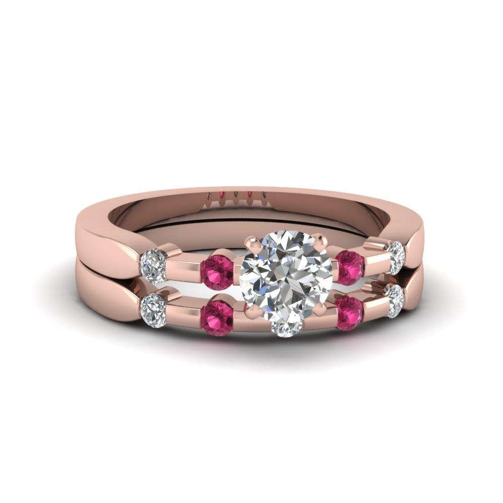 round cut delicate diamond wedding ring set with pink sapphire in 14K rose gold FDENS3063ROGSADRPI NL RG