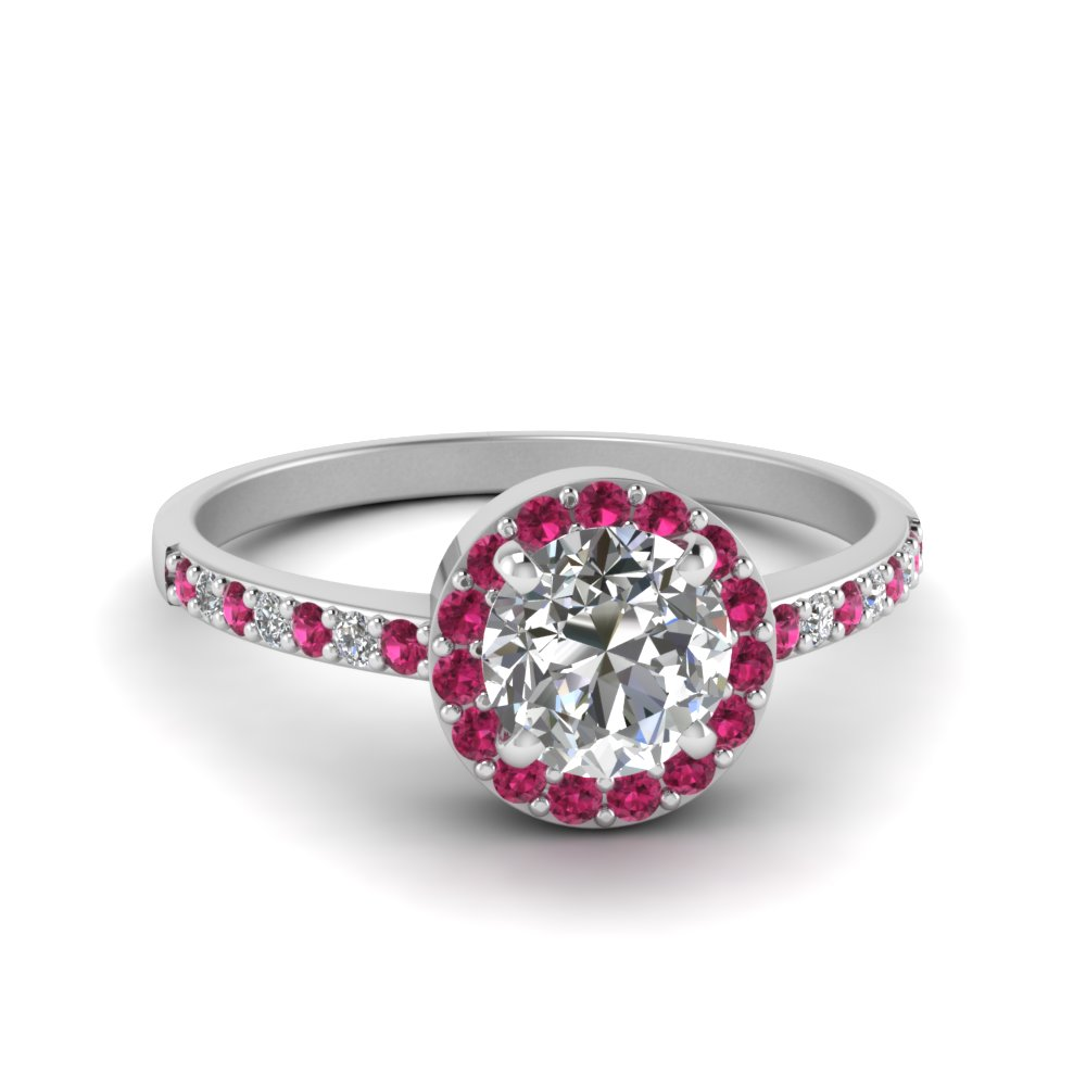 Simple Halo Pink Sapphire Ring