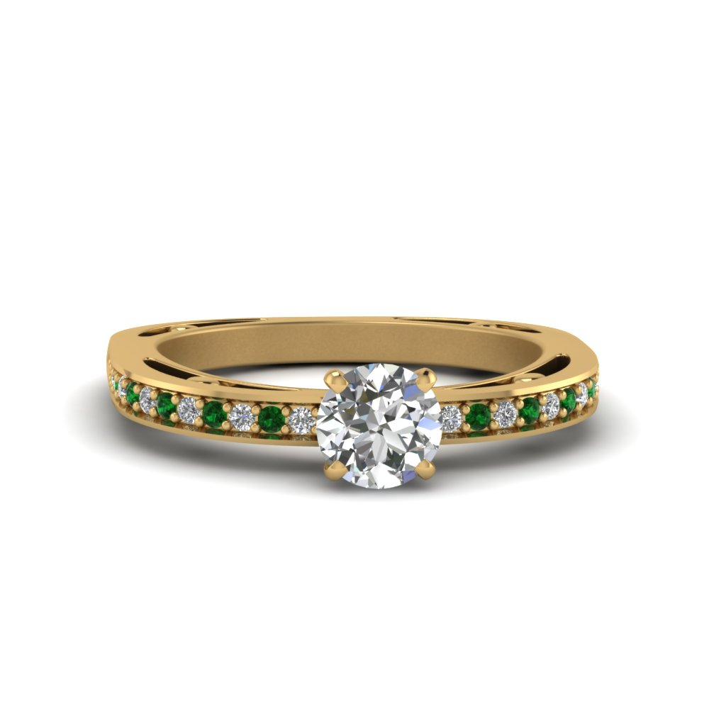 round cut delicate pave diamond engagement ring with emerald in 14K yellow gold FDENS3035RORGEMGR NL YG