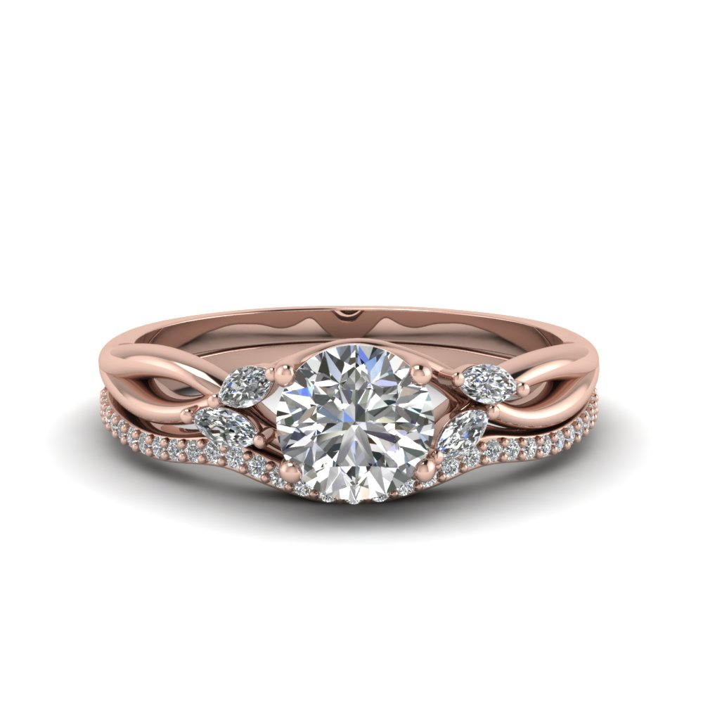 round cut delicate petal diamond accent bridal set in 14K rose gold FD8300RO NL RG