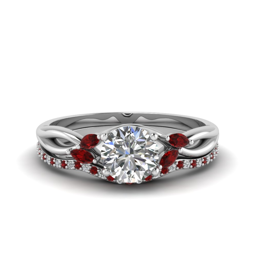 Round Cut Delicate Petal Diamond Accent Bridal Set With Ruby In Fd8300rogrudr Nl Wg