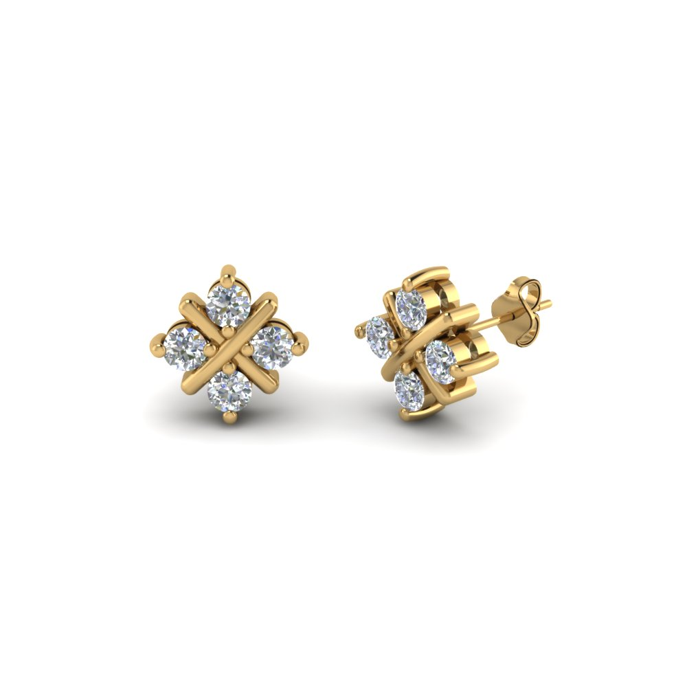 Square Criss Cross Diamond Stud Earring In Fdear40004 Nl Yg