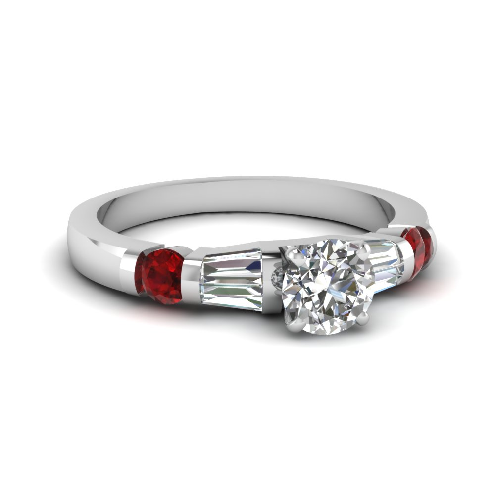 Diamond Baguette Ring With Ruby