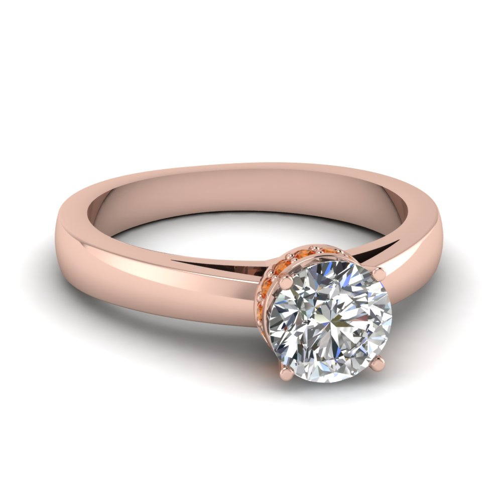 round-cut-diamond-bejeweled-crown-side-stone-ring-with-orange-sapphire-in-14K-rose-gold-FDENR6061RORGSAOR-NL-RG