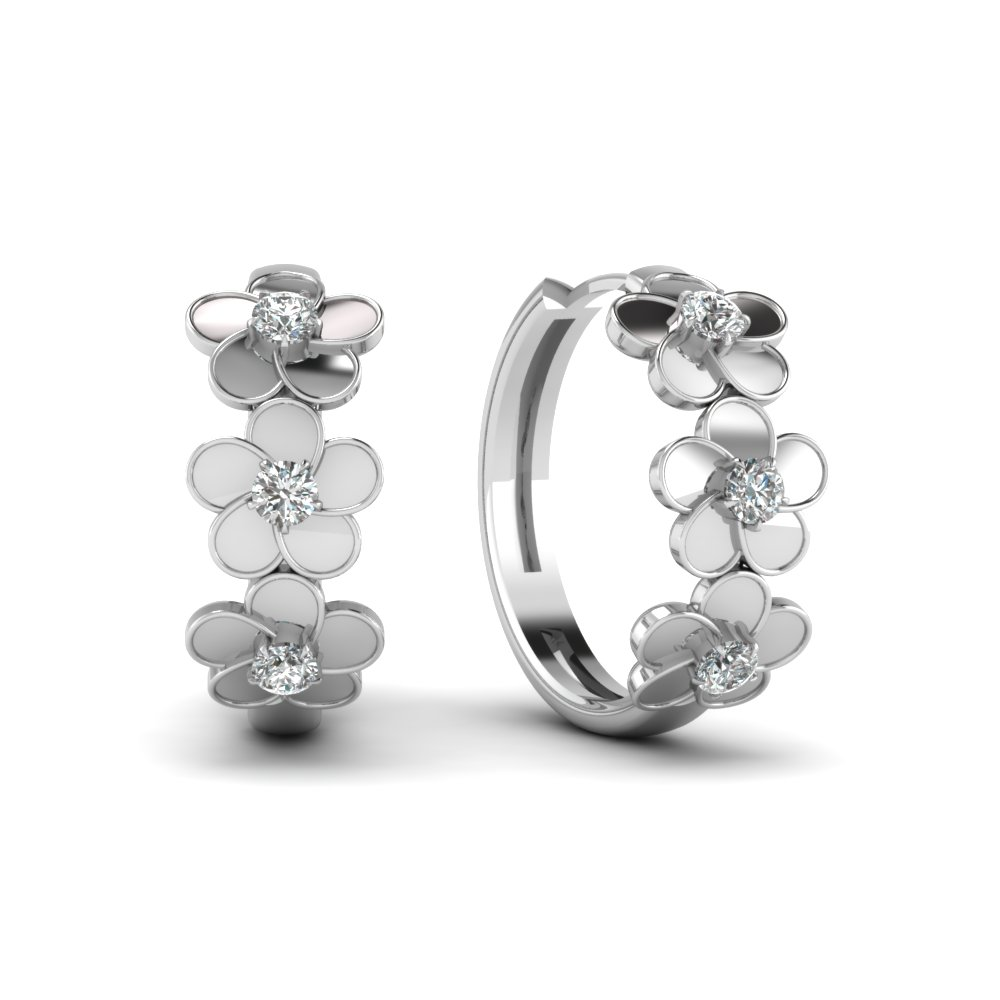 Round Cut Diamond Blossom Delight Hoop Earrings In