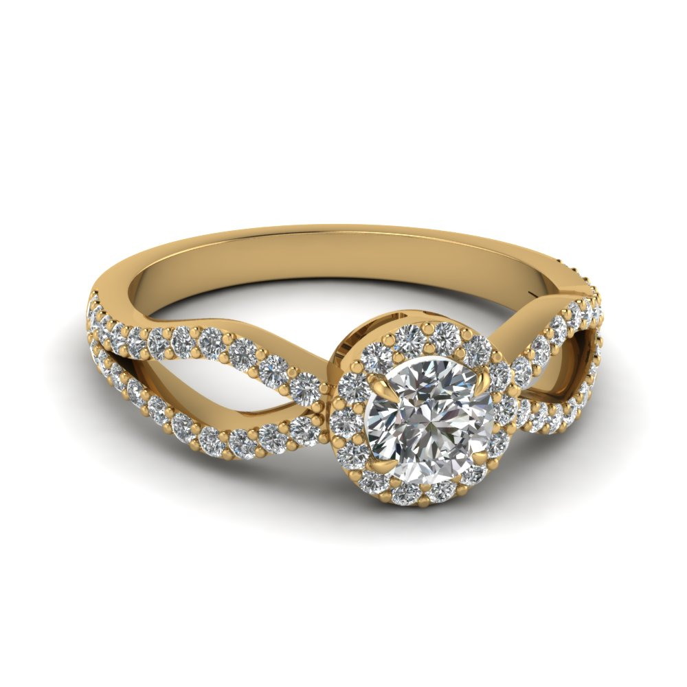 Yellow Gold Round Halo Ring