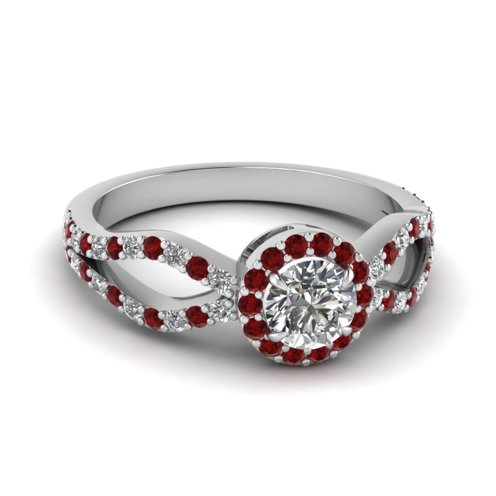 Round Cut Red Ruby Halo Engagement Rings