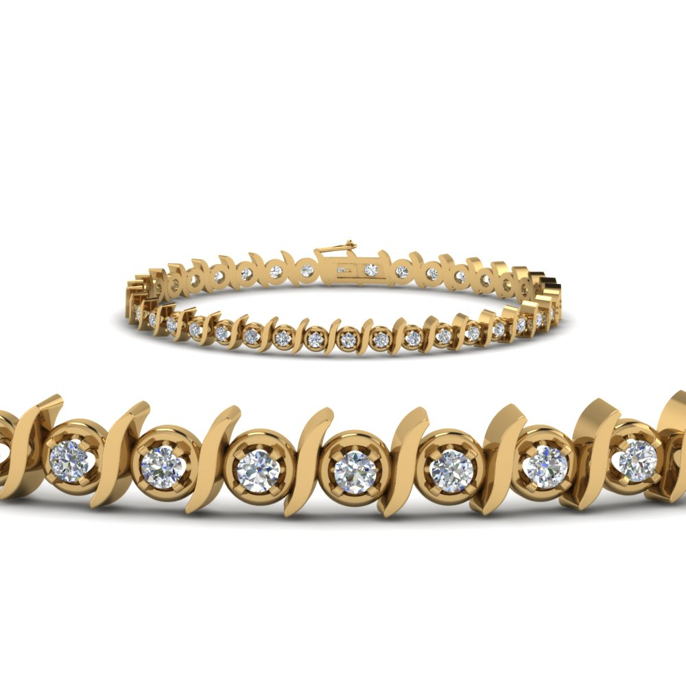 Round Cut Diamond Bracelet In 14K Yellow Gold