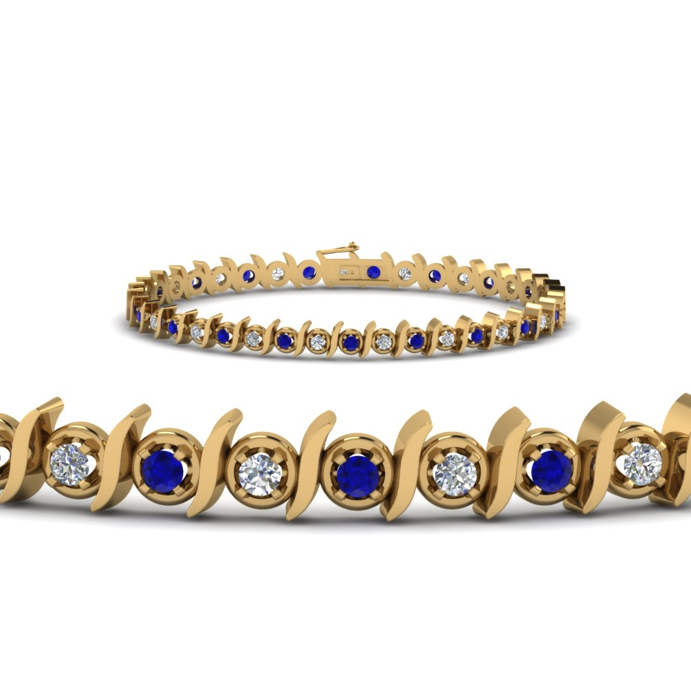 timeless diamond tennis bracelet with sapphire in FDBR67411GSABL NL YG.jpg