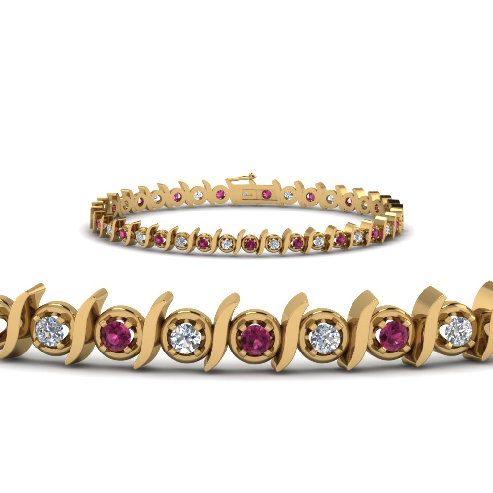 round cut diamond bracelet with dark pink sapphire in 14K yellow gold FDBR67411GSADRPIANGLE2 NL YG