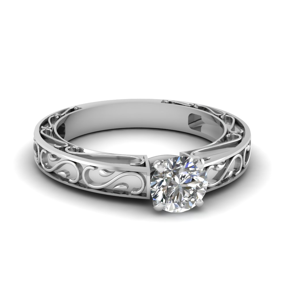 carved round diamond solitaire engagement ring in FDENS3590ROR NL WG