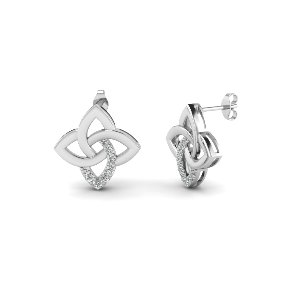celtic knot stud diamond earring in FDEAR651781 NL WG