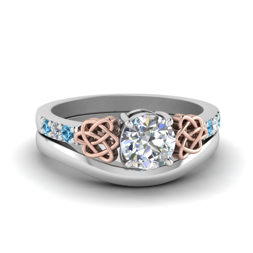 Round Cut Diamond Celtic Wedding Set With Blue Topaz In 950 Platinum