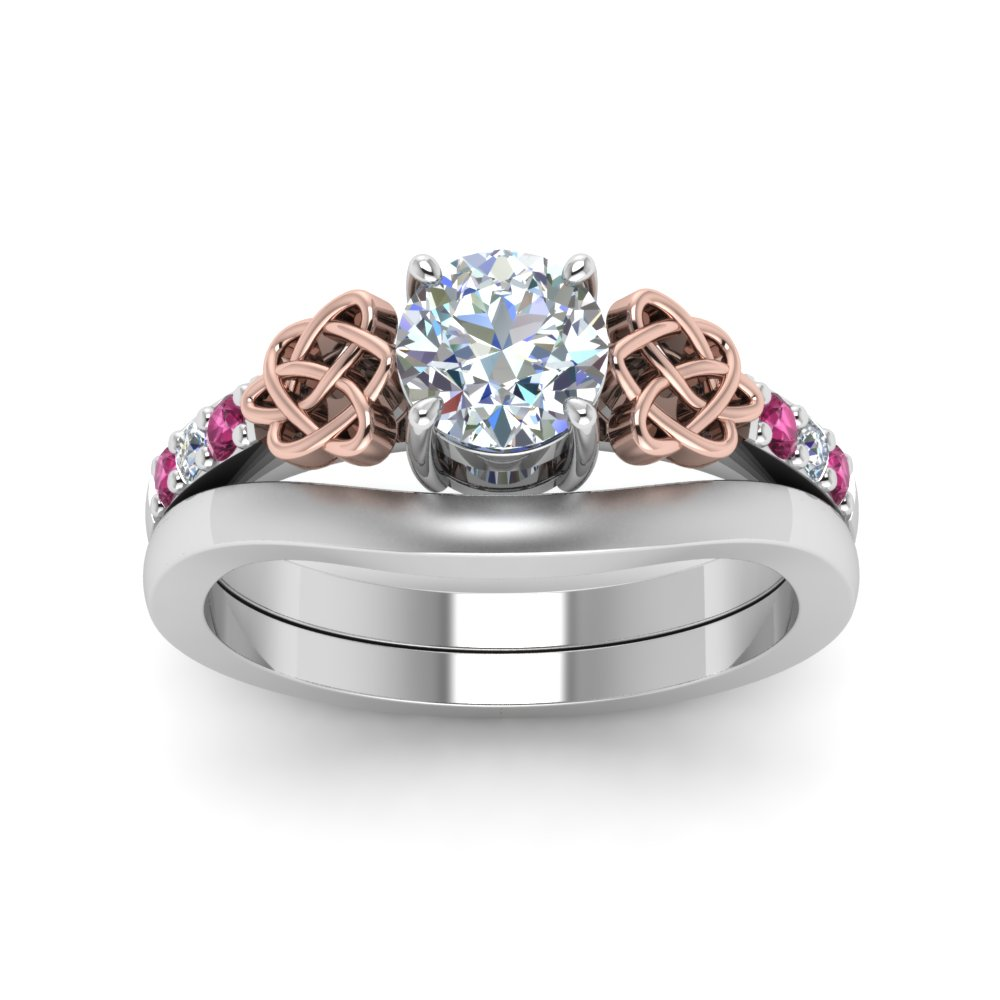 Round Cut Diamond Celtic Wedding Set With Pink Sapphire In 14K White