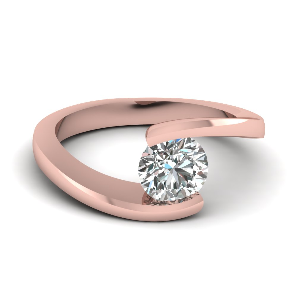 Tension Set 18k Rose Gold Ring