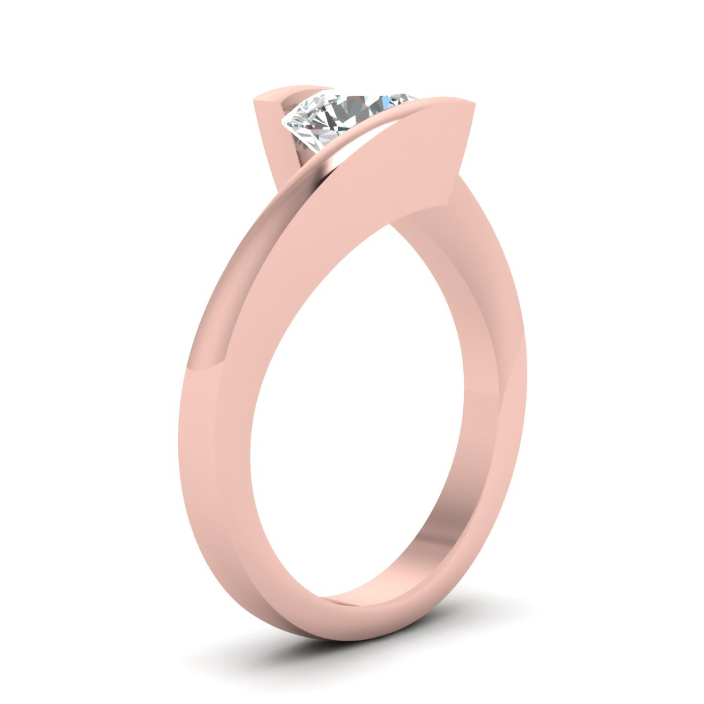 Tension Set Solitaire Engagement Ring In 14K Rose Gold | Fascinating ...